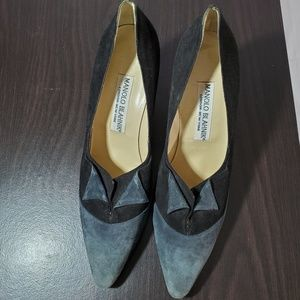 Manolo Blahnik black and gray pumps NWOT